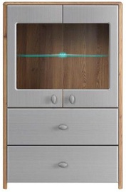 Black Red White Glass Door Cabinet Leda 90x140x42cm Larch/Grey