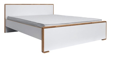 Black Red White Bari Bed 160x200cm White/Natural Oak