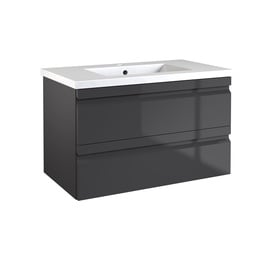 Pakabinama vonios spintelė su praustuvu Raguvos baldai Terra, pilka