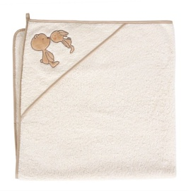 Rankšluostis su gobtuvu Ceba Baby Bath Towel Sweet Couple Ecru