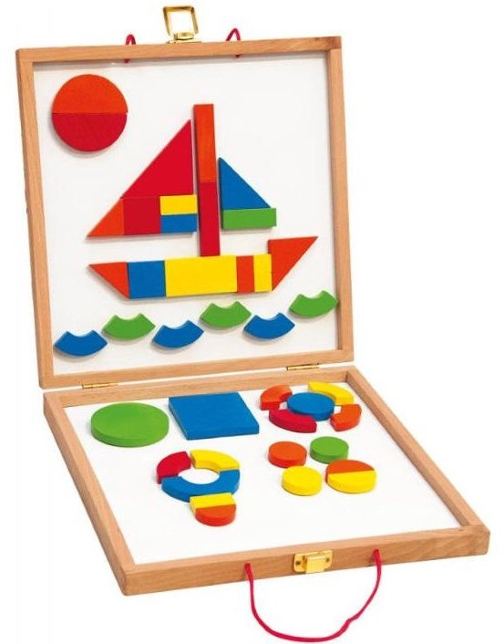Woodyland Educational Board With Magnetic Shapes 42pcs