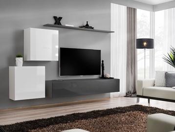 Dzīvojamās istabas mēbeļu komplekts ASM Switch V White/Graphite