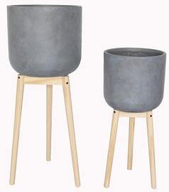 Keraminis vazonas su mediniu stovu Masterjero, Ø36 cm