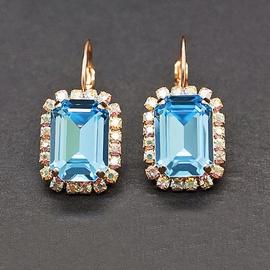 Diamond Sky Earrings With Crystals From Swarowski Lurdes II Aquamarine Blue