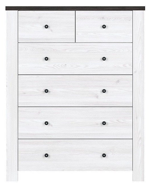 Black Red White Antwerpen Chest Of Drawers KOM6S Sibiu Larch Light/Larico Pine