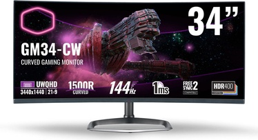 "Monitorius Cooler Master GM34-CW, 34"", 1 ms"