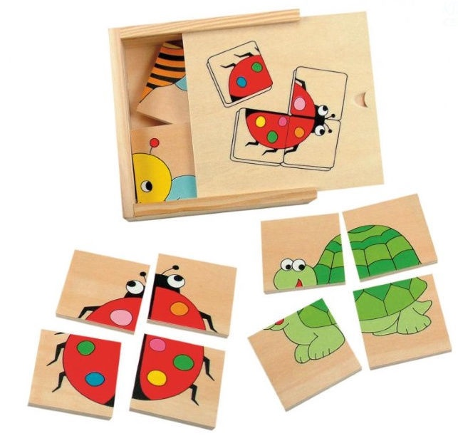 Woodyland Mini Puzzle In Wooden Box Bugs Animals 16pcs 90328
