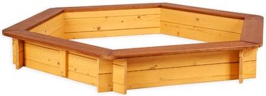 Smėlio dėžė Folkland Timber Brown/Yellow, 130x130 cm, su dangčiu