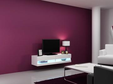TV staliukas Cama Meble Vigo New 140 White/White Gloss, 1400x300x1400 mm