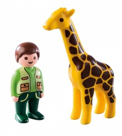 Playmobil 1-2-3 Zookeeper With Giraffe 9380