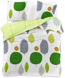 Gultas veļas komplekts DecoKing Green Leaf, 200x200/63x63 cm