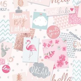 Flizelino pagrindo tapetas Ecodeco LO 2401 Little Ones, kreminis su užrašais, flamingais