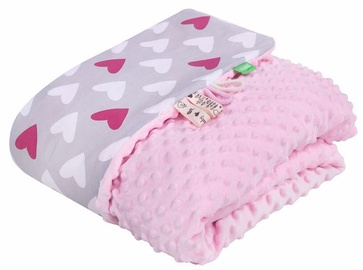 Lulando Minky Baby Blanket Pink/Grey With Hearts 80x100cm