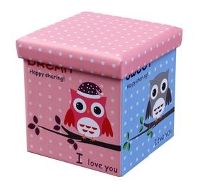 Tumba Halmar Moly Owl Pink/Blue, 38x38x38 cm