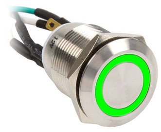 Impactics Push Button Silver 19mm IP67 LED Green