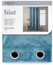 AmeliaHome Velvet Curtains Blue 140x270cm