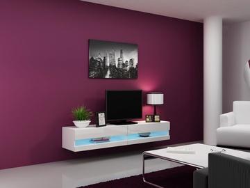 TV staliukas Cama Meble Vigo New 180 White/White Gloss, 1800x300x400 mm