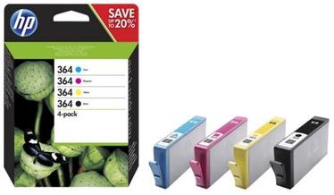 HP 364 CMYK Ink Cartridge 4 Pack  Black Yellow Cyan Magenta