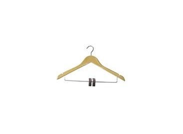 Medinė drabužių pakaba su spaustukais
