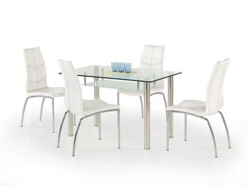 Pusdienu galds Halmar Olivier, caurspīdīga/hroma, 1190x690x750mm