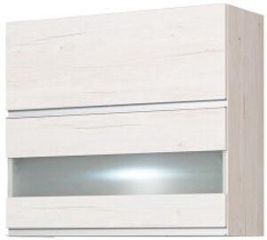 Bodzio Monia Upper Divided Cabinet With Glass 80 Pearl Soma Oak