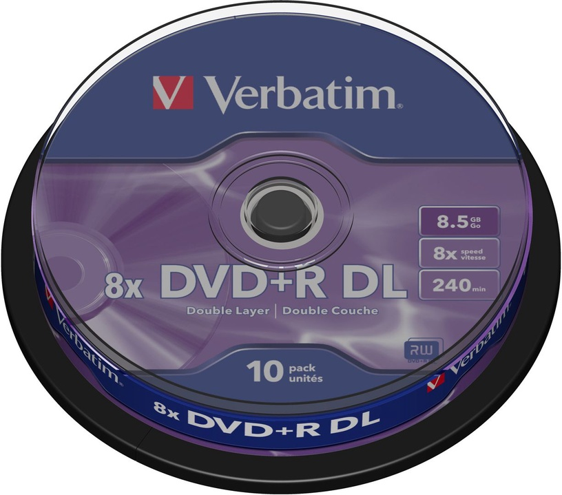 Verbatim DVD+R DL 8X 8.5GB 10P Matte Silver Cake Box