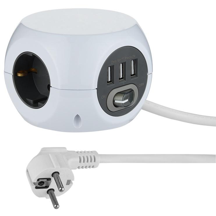 Pikendusjuhe Minicube 1,5m 3 usb+switch