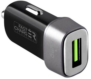 Puro Mini USB Car Fast Charger With Apple Lightning Cable Black