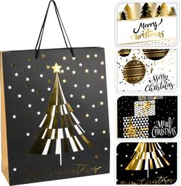 Подарочный пакет ABB302120, золотой/белый/черный/многоцветный/, 260 x 100 x 320 мм