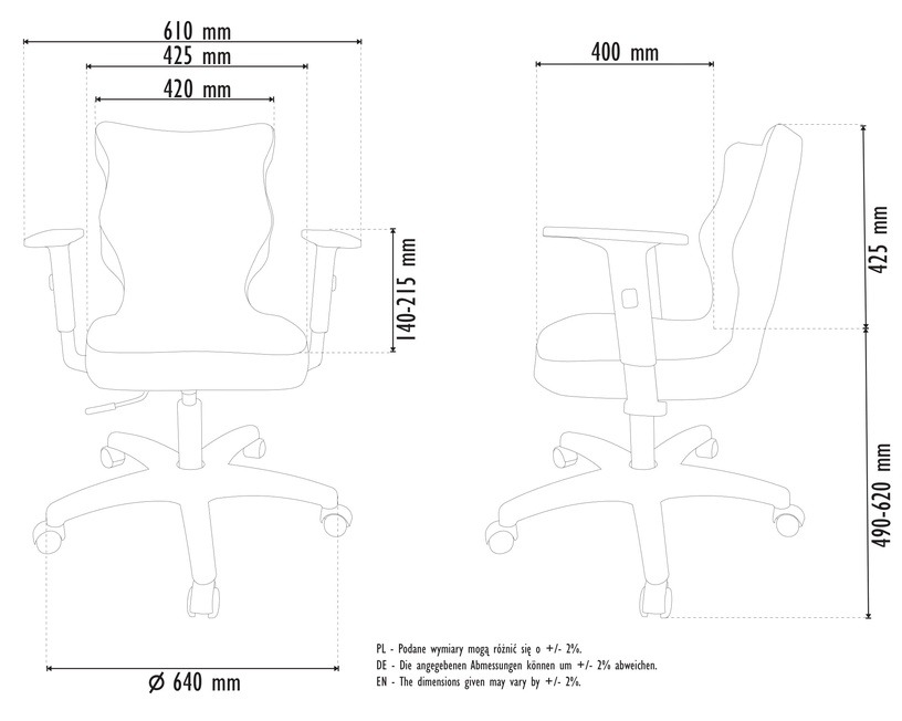 Детский стул Entelo Duo Size 6 JS06, синий/белый, 400 мм x 1045 мм