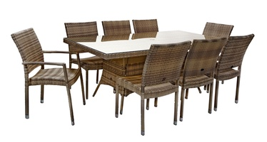 Home4you Wicker Garden Table And 8 Chairs Set Cappuccino