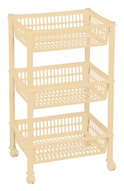 Plast Team Eco Trolley With 3 Baskets 39.4x29x16.5/68.5cm Beige
