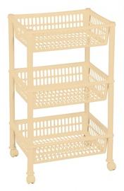 Plast Team Eco Trolley With 3 Baskets 39.4x29x16.5/68.5cm Beige