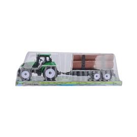 Žaislinis traktorius, su priekaba ir malkomis