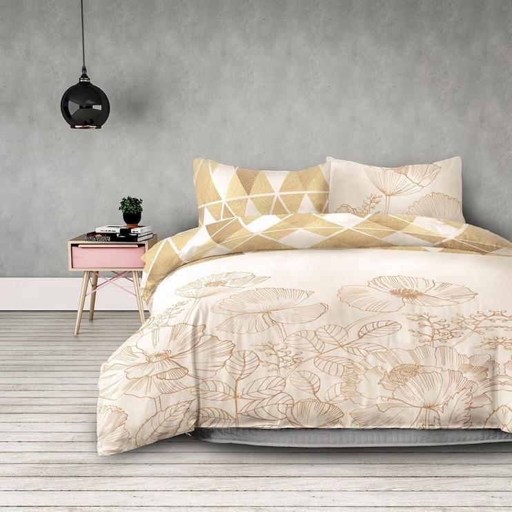 Gultas veļas komplekts AmeliaHome Snuggy, dzeltena/bēša, 200x220/80x80 cm