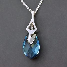 Diamond Sky Pendant Baroque II Aquamarine Light Chrome With Crystals From Swarovski
