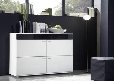 Kumode Cama Meble Logo II 120 White/Black Gloss, 120x42x78 cm