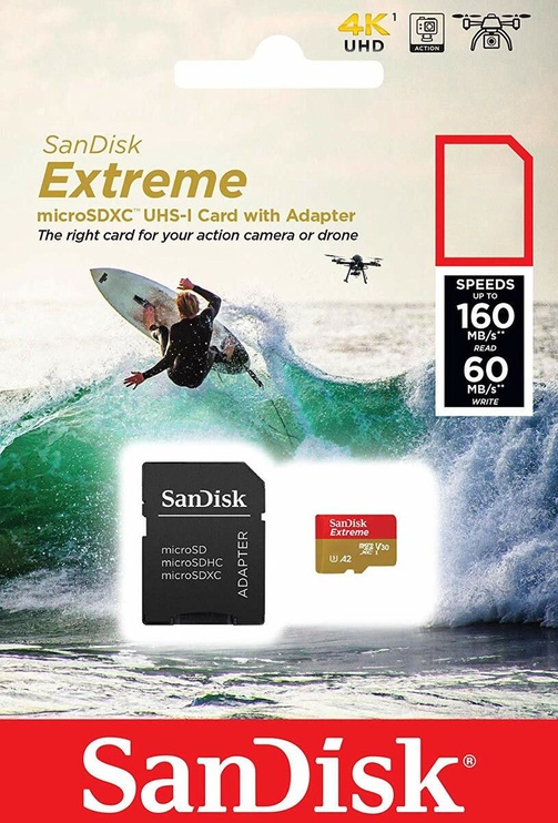 SanDisk Extreme microSDXC 64GB Class 10 U3 A2 w/ SD Adapter SDSQXA2-064G-GN6AA