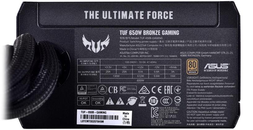 Asus TUF Gaming Power Supply 650W Black