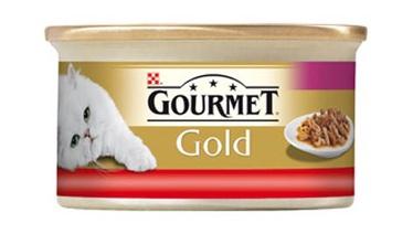 Konservuotas ėdalas katėms Gourmet Gold, su jautiena ir vištiena, 85 gr
