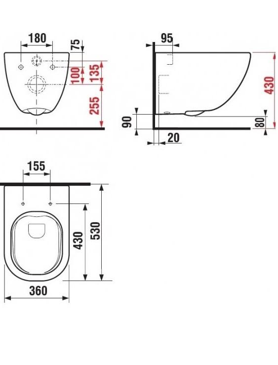 Sienas tualete Jika Mio-N Rimless H8207140000001, 360 mm x 530 mm