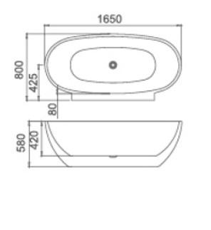 Ванна Masterjero 1618, Акрил, 1650 мм x 800 мм x 580 мм