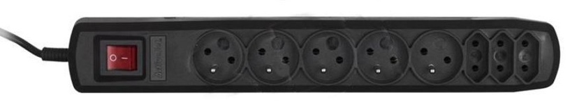 Стабилизатор напряжения (Surge Protector) ActiveJet Surge Protector 8 Outlet Black 1.5m
