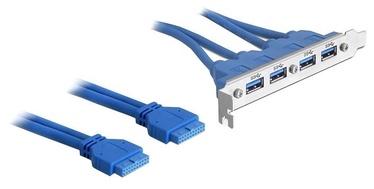 Delock Slot Bracket 4 x USB 3.0 / 2 x 19 pin USB 3.0 Blue
