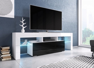 TV galds Cama Meble Toro 138 White/Black, 1380x400x410 mm