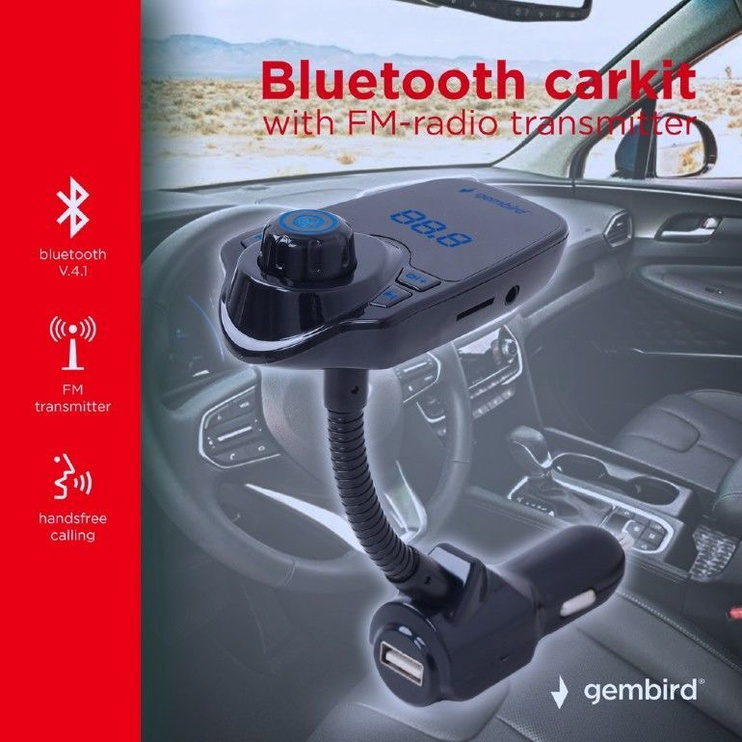 Gembird BTT-01 Bluetooth FM Transmitter With USB Charger Black