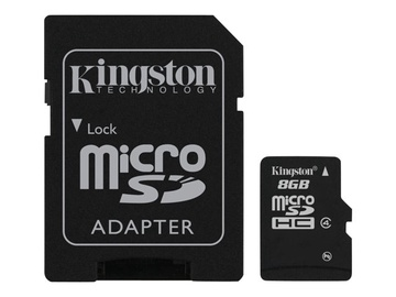 Atminties kortelė Kingston microSDHC CL4, 8GB + SD adapteris