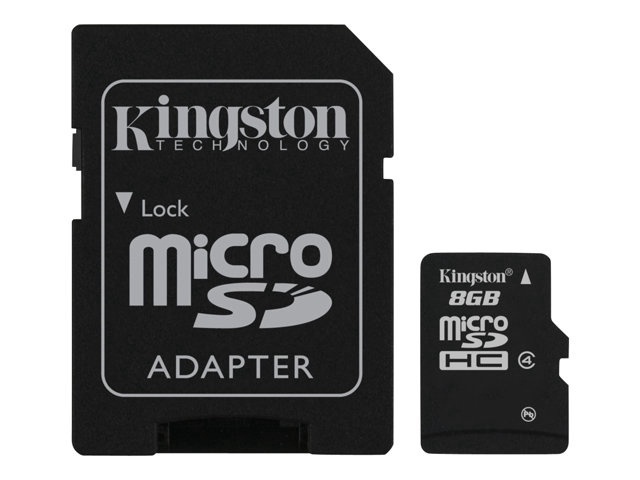 Mälukaart Kingston microSDHC CL4, 8GB + SD adapteris