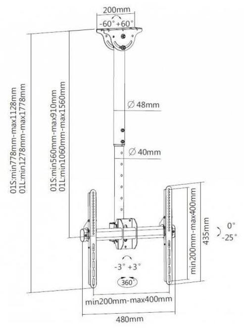 Televizoriaus laikiklis Techly Ceiling Mount for LED/LCD 32''-55'' Black