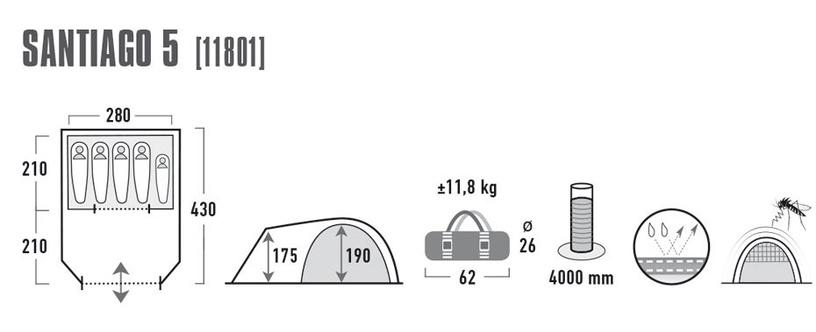 Palapinė High Peak Santiago 5 11801